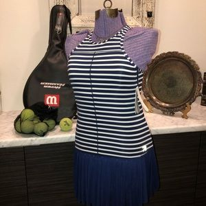 NB J.Crew Navy Striped Mesh Skirt Tennis Dress